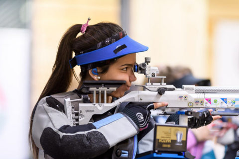 SUHL - JUNE 26: 4th placed Fernanda RUSSO of Argentina competes in the 10m Air Rifle Women Junior Final at the Shooting Center Suhl during Day 3 of the ISSF Junior World Championship Rifle/Pistol on June 26, 2017 in Suhl, Germany. (Photo by Nicolo Zangirolami)